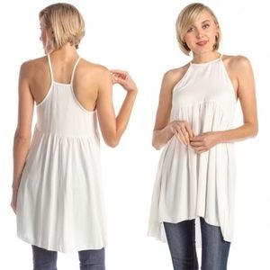 Mock Halter High Low Baby Doll Tunic Ivory